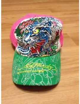 Women's Ed Hardy Christian Audigier Pink/Green Adjustable Mesh Trucker Hat Cap by Ebay Seller