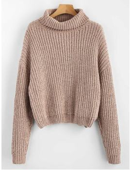 Pullover Turtleneck Chunky Sweater   Camel Brown by Zaful