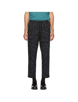 Grey Leopard Drawstring Trousers by Kenzo