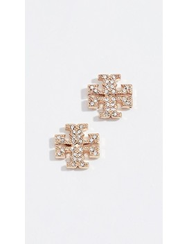 Crystal Logo Stud Earrings by Tory Burch