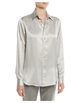 Bacall Button Front Long Sleeve Silk Blouse by Ralph Lauren Collection