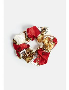 Cream Scarf Print Scrunchie by Missguided