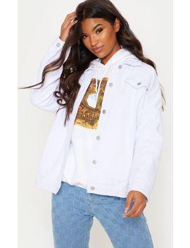 White Oversized Denim Jacket  by Prettylittlething