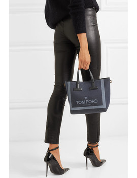 T Mini Leather Trimmed Printed Denim Tote by Tom Ford