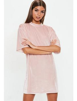 Pink Velvet Oversized T Shirt Dress by Missguided