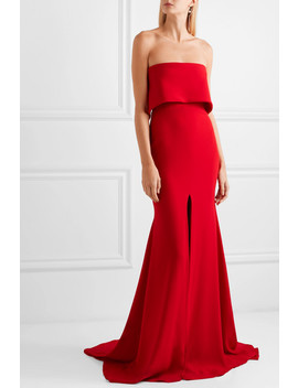 Strapless Split Front Crepe Gown by Alex Perry