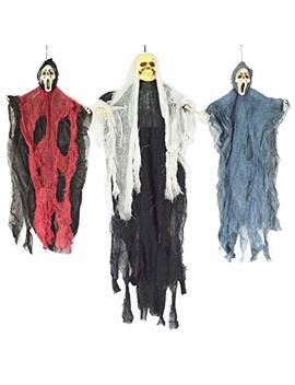 "Joyin Set Of Three Hanging Skeleton Ghost Halloween Decorations(One 35"" Hanging Ghost Skeleton And Two 25"" Hanging Reapers) by Joyin"