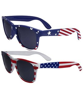 2 Pairs Bulk American Sunglasses Usa Flag Classic Patriot by Grinder Punch