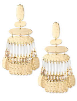 Nicola Gold Statement Earrings In Smoky Crystal by Kendra Scott