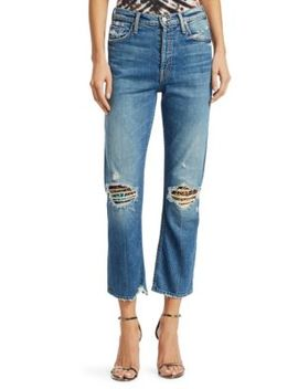 Tomcat High Rise Jewelled Ripped Ankle Jeans by Mother