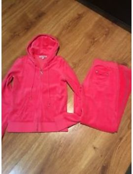 Nwot Juicy Couture L M Pink Bling Velour  Hoody Track Suit Set Pink by Juicy Couture