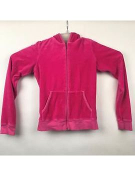 Women's Juicy Couture Hot Pink Velour Track Jacket Zip Up Small S Hooded by Juicy Couture