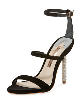 Rosalind Velvet Strappy Crystal Heel Sandal by Sophia Webster