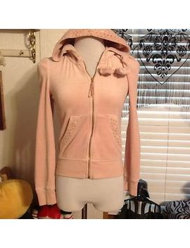 Juicy Couture Zip Up Hoodie Size Small Velour Baby Pink Studded Bling Bow by Juicy Couture