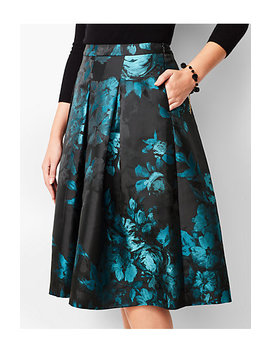 Painted Floral Pleated Fit & Flare Skirt by Talbots