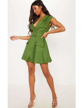 Khaki Sleeveless Utility Belted Blazer Dress by Prettylittlething