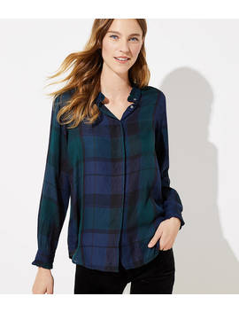 Petite Plaid Ruffle Collar Utility Blouse by Loft
