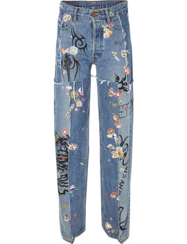 Distressed Embellished Straight Leg Jeans by Vetements