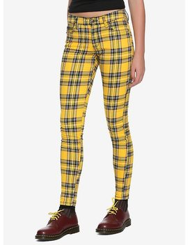 Tripp Yellow Plaid Girls Skinny Pants by Hot Topic