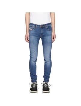 Blue Sticker Denim Jeans by Diesel