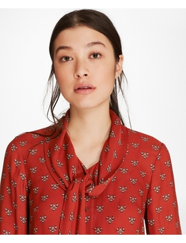 Foulard Silk Georgette Tie Collar Blouse by Brooks Brothers