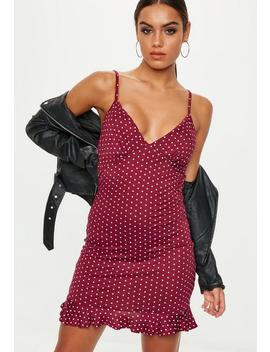 Red Strappy Frill Polka Dot Tea Dress by Missguided