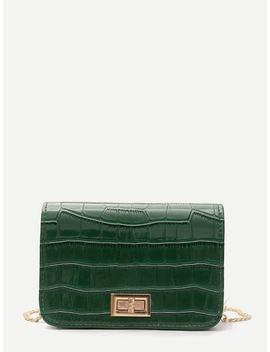 Twist Lock Crocodile Pu Crossbody Bag by Shein