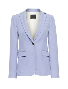 Petite Long And Lean Fit Machine Washable Birdseye Blazer by Banana Repbulic