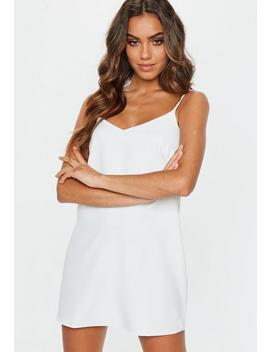 White Crepe Cami Strap Shift Dress by Missguided