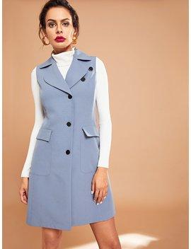 Flap Pocket Buttoned Vest Coat by Shein
