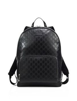 Signature Embossed Leather Backpack by Gucci