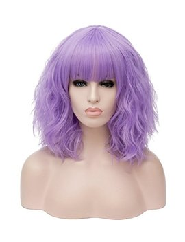 Mildiso 14 Inches Short Fluffy Lavender Wigs For Women Light Purple Bangs Hair Full Synthetic Party Wigs Lavender M044 Lp by Mildiso
