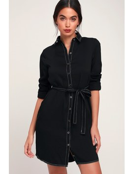 City Chic Black Long Sleeve Shirt Dress by Lulus