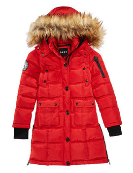 Big Girls Hooded Bubble Jacket With Faux Fur Trim by Dkny