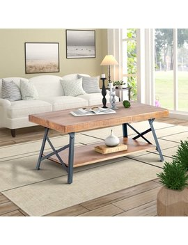 Harper&Bright Designs Solid Wood Coffee Table With Metal Legs by Harper&Bright Designs