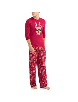 Holiday Family Sleep Reindeer Jersey Long Sleeve Top And Brushed Micro Jersey Pant, 2 Piece Pajama Set (Men's) by Toast & Jammies