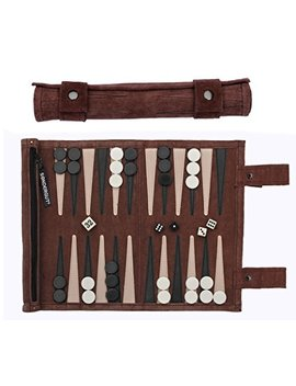 Sondergut Roll Up Suede Backgammon Game (Color Mocha) by Sondergut