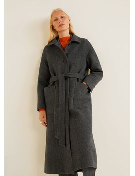 Buttoned Herringbone Coat by Mango
