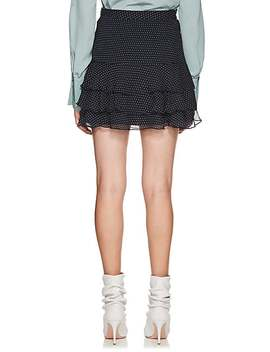 Ruffle Dot Print Silk Miniskirt by Sir The Label