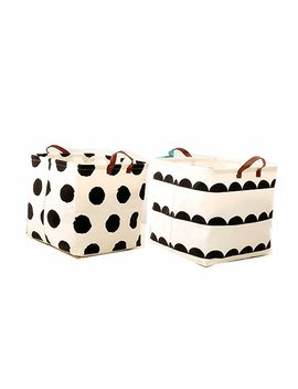 Leoyoubei 13 Inch Waterproof Coating Toy Storage Bin, Ramie Cotton Fabric Folding Laundry Hamper Bucket Storage Basket 2 Pack (Dot And Semicircle) by Leoyoubei