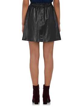 """Paper Bag"" Leather Skirt by Lisa Perry"