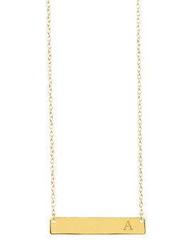 14 K Yellow Gold Vermeil Bar Initial Necklace   A Z Available by Sterling Forever