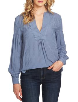 Triangle Jacquard Split Neck Top by Cece