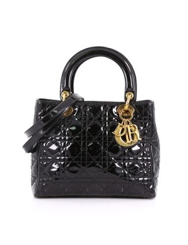 Lady Dior Christian Vintage Handbag Cannage Quilt Medium Black Patent Leather Tote by Dior