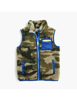Boys' Sherpa Vest In Camo by J.Crew