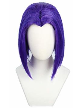 Codeven Short Purple Hair Wigs Halloween Costume Cosplay Wig For Women by Codeven