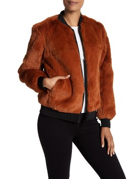 Genuine Rabbit Fur Reversible Bomber by Cinq A Sept