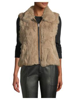 Rabbit Fur Zip Front Vest by Adrienne Landau