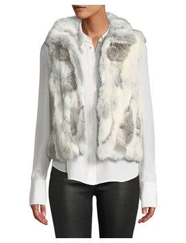 Rabbit Fur Pompom Vest by Adrienne Landau