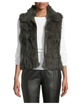 Zip Front Reversible Rabbit Fur Vest, Green by Adrienne Landau